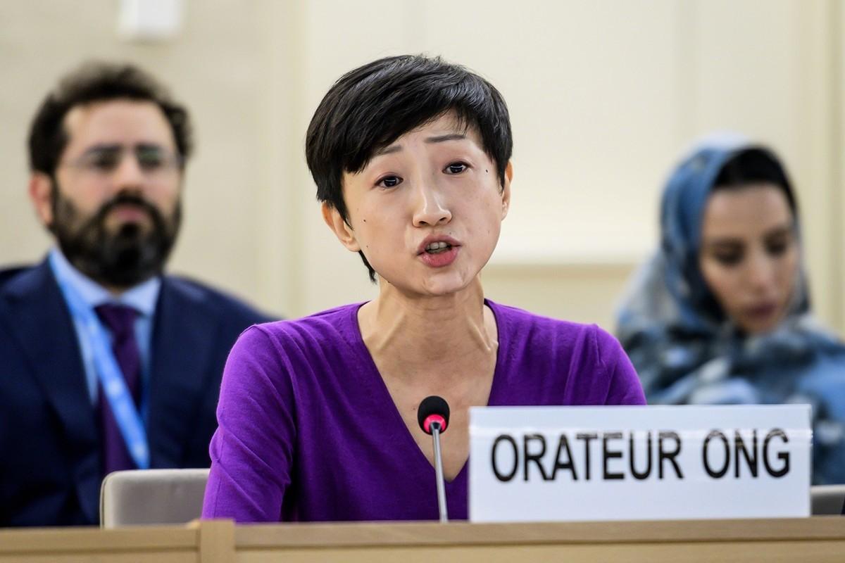 香港公民黨立法會議員陳淑莊應邀出席聯合國人權理事會第42次會議。(FABRICE COFFRINI / AFP)