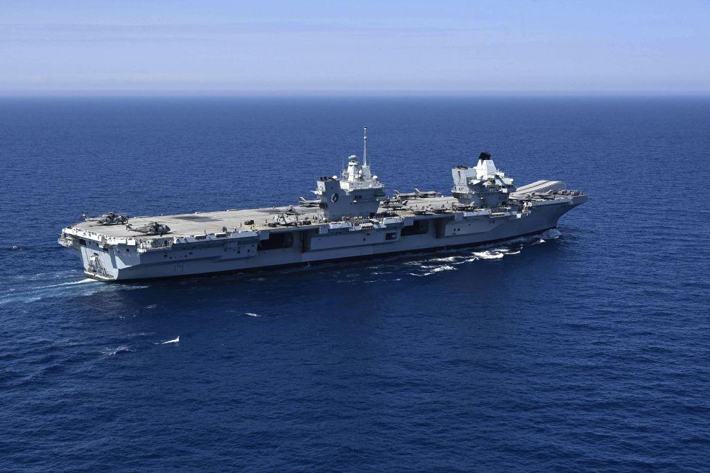 英國的「伊莉莎白女王號」(HMS Queen Elizabeth)航空母艦。(CHRISTOPHE SIMON/AFP via Getty Images)