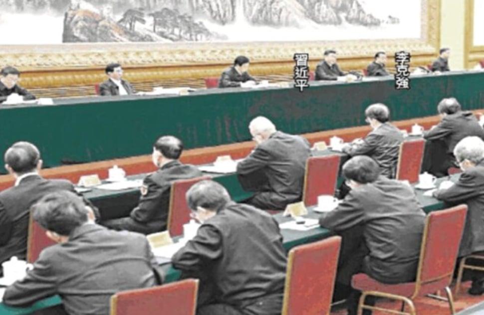 2020年2月23日習近平在中共防疫會議上。(影片截圖)