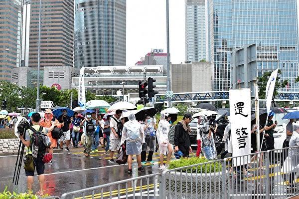 圖為8月25日港警家屬發起「還警於民」集會,支持港人反送中活動。(郭威利/大紀元)