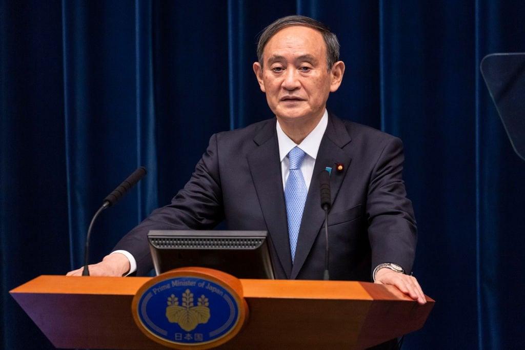 日本首相菅義偉在9月24日舉行的聯合國大會上發表視像講話,力挺台灣參與世界衛生大會(WHA)。圖為菅義偉資料照。(Yuichi Yamazaki/Getty Images)