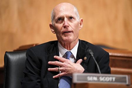 圖為佛州共和黨籍參議員瑞克·斯科特出席2020年12月16日的2020年大選違規行為聽證。(GREG NASH/POOL/AFP via Getty Images)