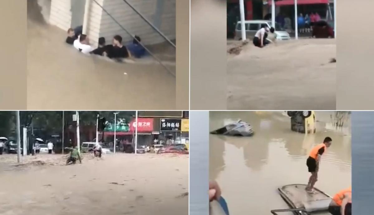 鄭州市民陳雷以影片和親身經歷為證,說明720洪水是突然來的,政府突洩洪卻沒預案所致。(影片截圖)