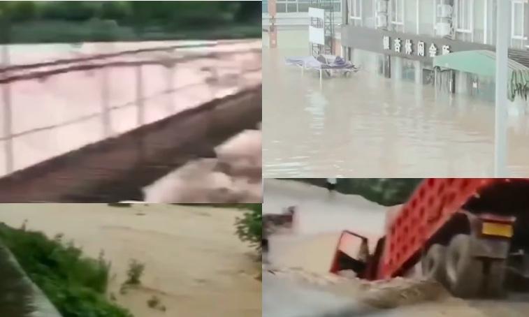 8月12日,四川、重慶、甘肅等地21條河流發生超警以上洪水。圖為四川洪水情況。(影片截圖合成)