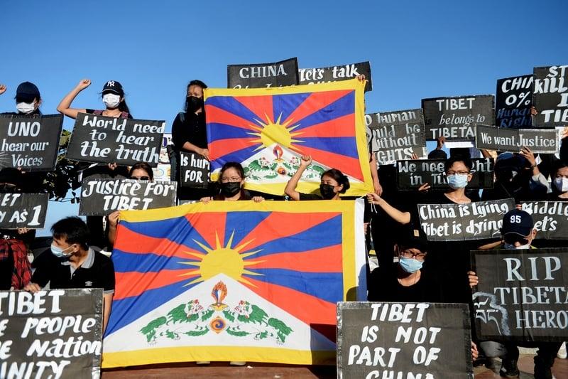 組圖:中共鎮壓西藏62周年 印度流亡藏人抗議
