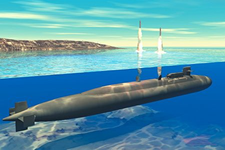 戰斧巡航導彈從俄亥俄級核動力潛艇發射示意圖。(維基百科)