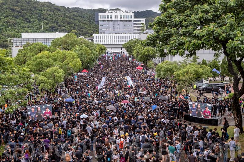 2019年9月2日,香港中文大學百萬大道罷課集會活動,抗議港府無視民眾訴求、港警暴力鎮壓。(余鋼/大紀元)