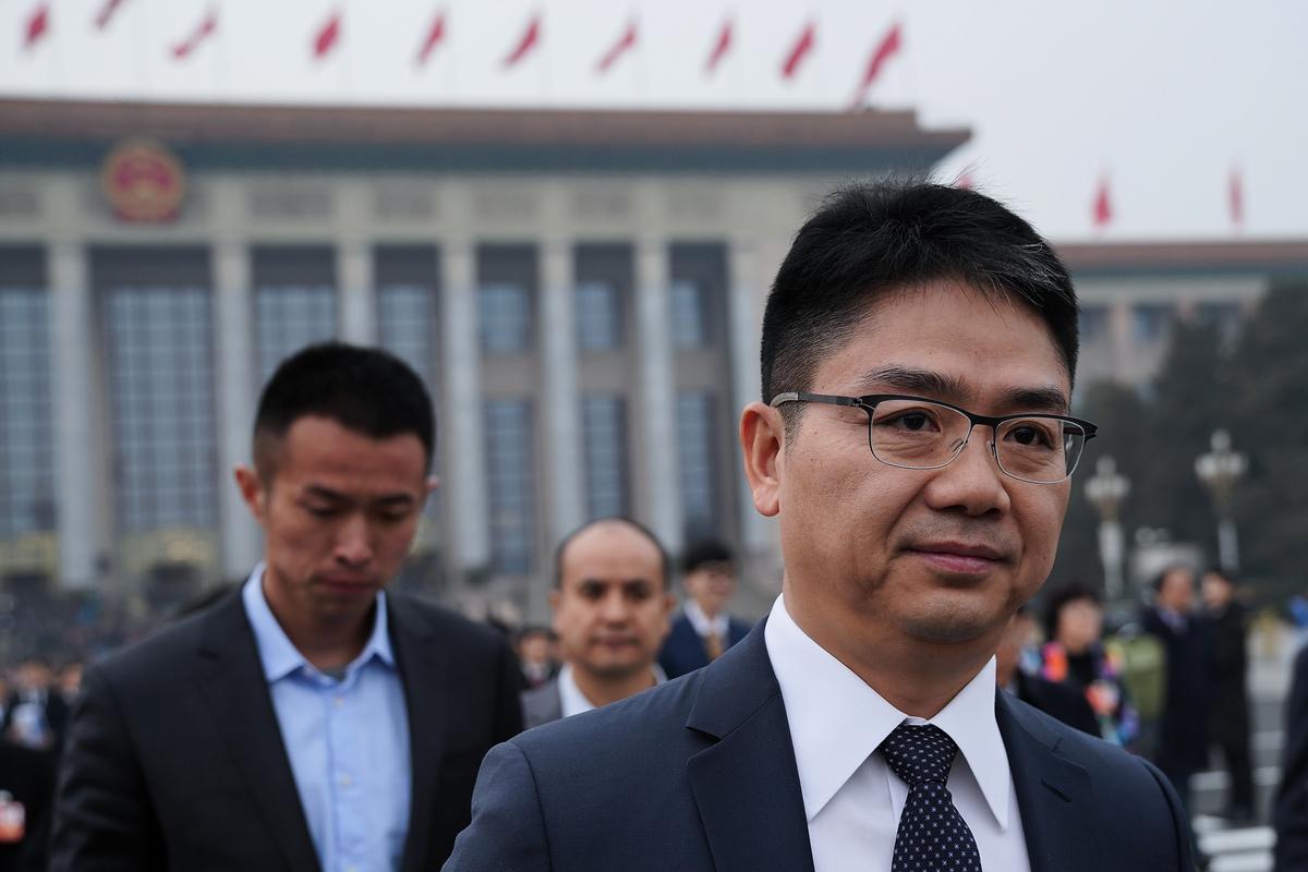 中國新年前後,大陸媒體再度高調宣傳「民營企業『跟黨走』」,圖為京東集團CEO劉強東。(Lintao Zhang/Getty Images)