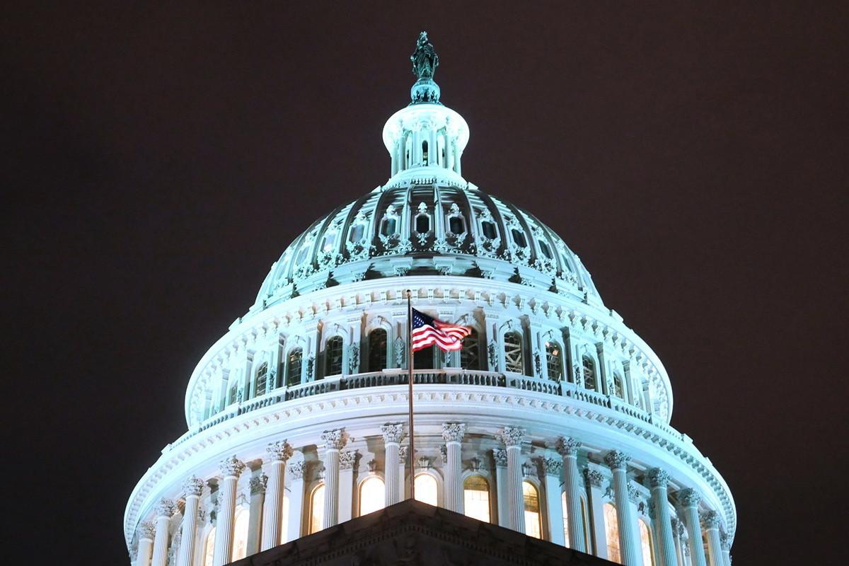 11月19日傍晚,美國聯邦參議院全體院會一致通過了《香港人權與民主法案》。圖為美國國會大廈。(李辰/大紀元)