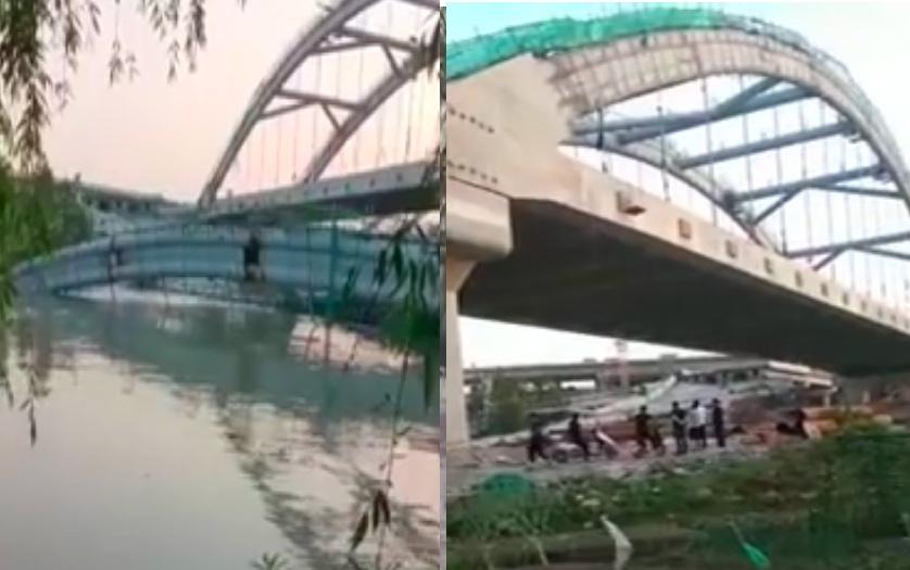 2021年5月8日,浙江紹興市杭紹台高速公路一座即將完工的在建橋樑坍塌。(影片截圖合成)