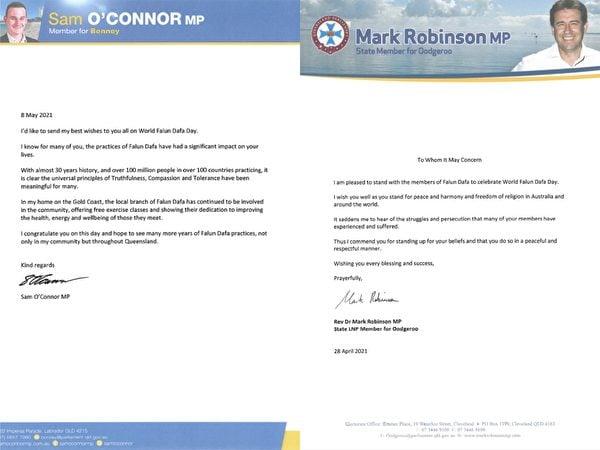 昆州自由國家黨議員羅賓遜(Mark Robinson)和昆州自由國家黨州議員奧康納(Sam O'Connor)發賀信,恭賀世界法輪大法日。(大紀元合成圖)