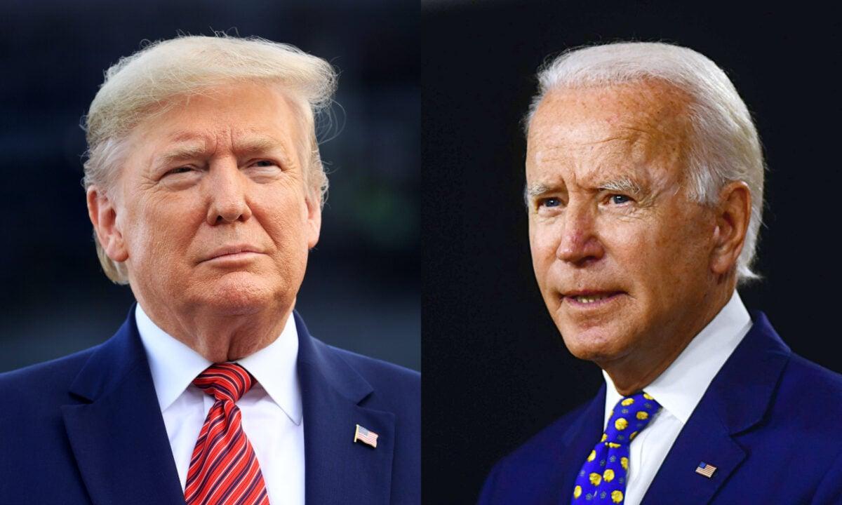 圖為2020年美國總統大選的兩黨候選人,左邊為現任共和黨總統特朗普、右邊為前民主黨副總統拜登。(Chris Graythen/Getty Images; Andrew Caballero-Reynolds/AFP via Getty Images)