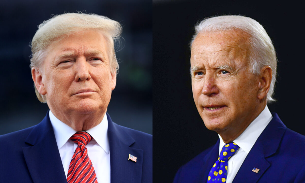 左圖為總統唐納德·特朗普;右圖為民主黨總統候選人喬·拜登。(Chris Graythen/Getty Images; Andrew Caballero-Reynolds/AFP via Getty Images)