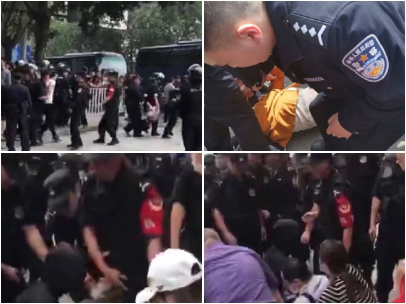 團貸網千名難友4月6日(周六)「東莞旅遊」維權遭特警打壓。(大紀元合成圖)