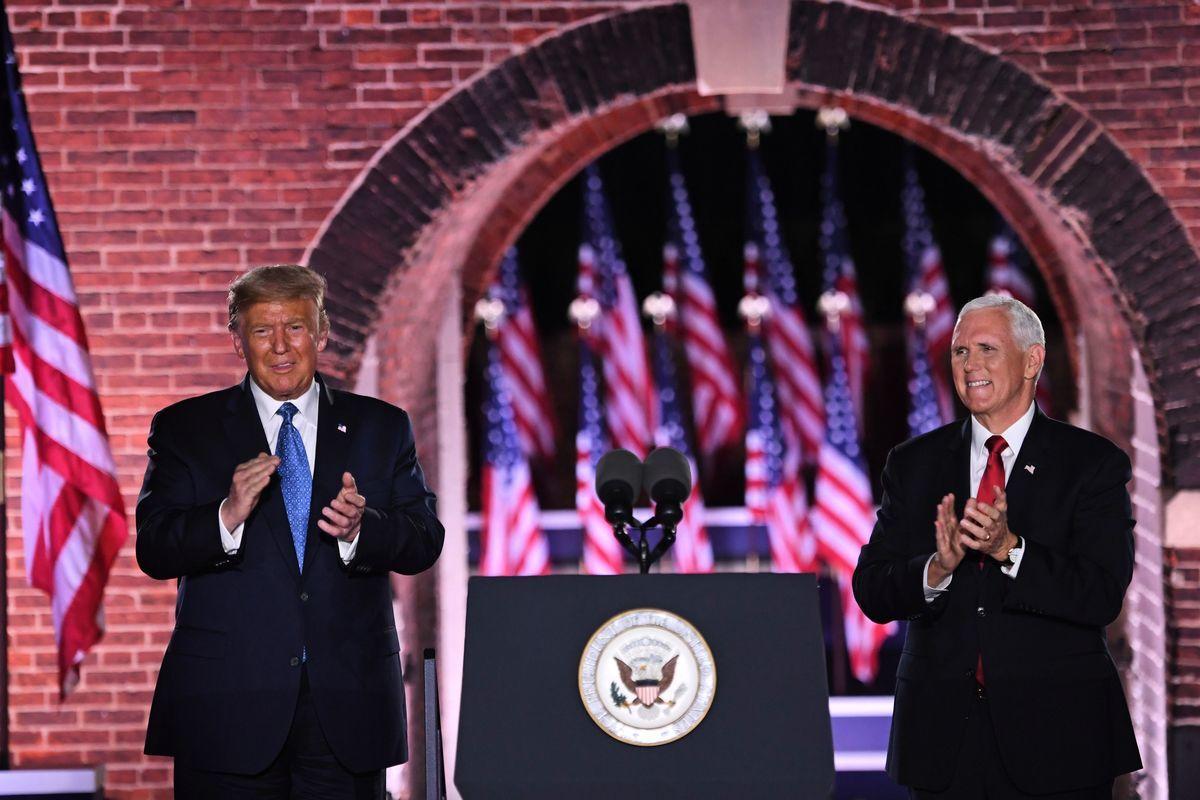 2020年8月26日,美國巴爾的摩,總統特朗普和副總統彭斯一同現身共和黨大會。(SAUL LOEB/AFP via Getty Images)