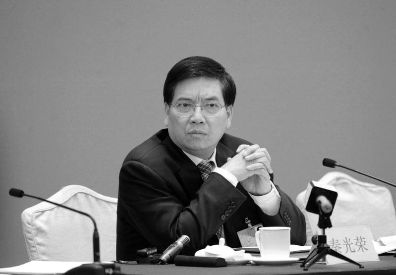 9月26日,雲南省前省委書記秦光榮被開除黨籍、取消其享受的待遇。圖為2012年3月10日,秦光榮參加兩會時接受採訪。(大紀元資料室)