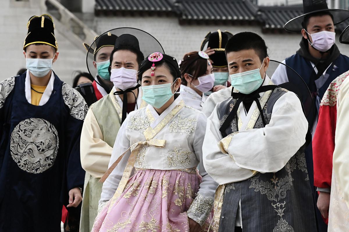 武漢肺炎疫情在南韓升溫,2020年2月21日確診病例已達156例。(Jung Yeon-je/AFP)