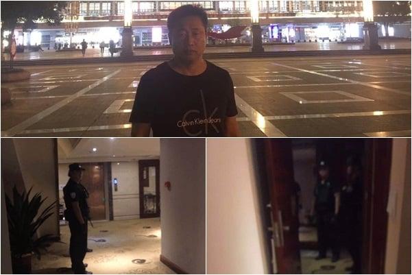 9月25日晚11時20分許,謝陽律師入住當地神龍大酒店後,被突然闖入的6名持槍實彈特警控制,截至發稿時間,仍處於失聯狀態。(受訪者提供)