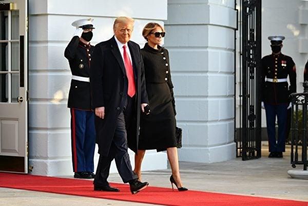 美國總統唐納德·特朗普和第一夫人梅拉尼亞於2021年1月20日離開華盛頓特區白宮。(MANDEL NGAN/AFP via Getty Images)