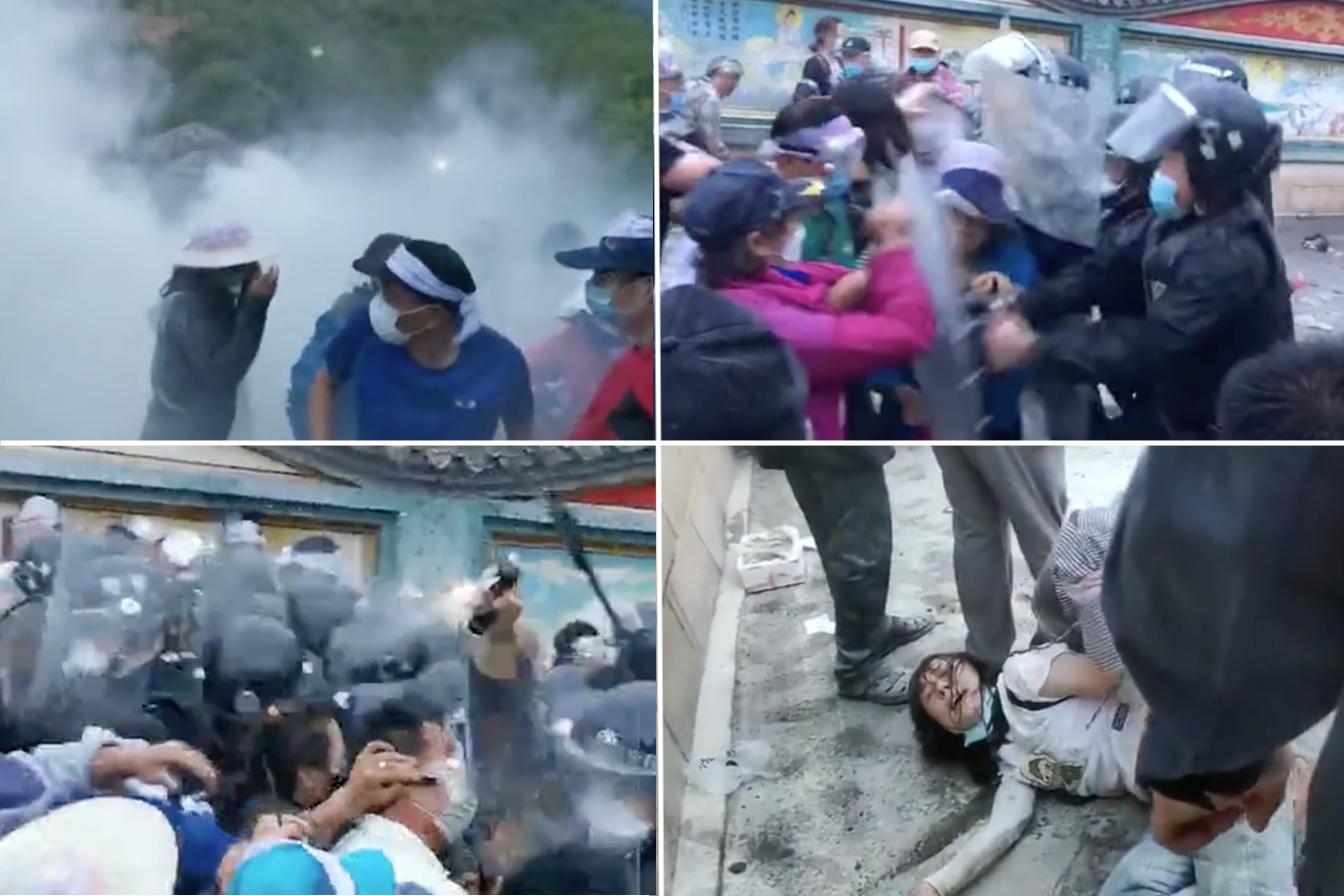 6月29日清晨5點鐘,保安列隊進入北京昌平流村瓦窯村小區準備強拆,業主抵抗被噴辣椒水,多名老人受傷。(影片截圖)