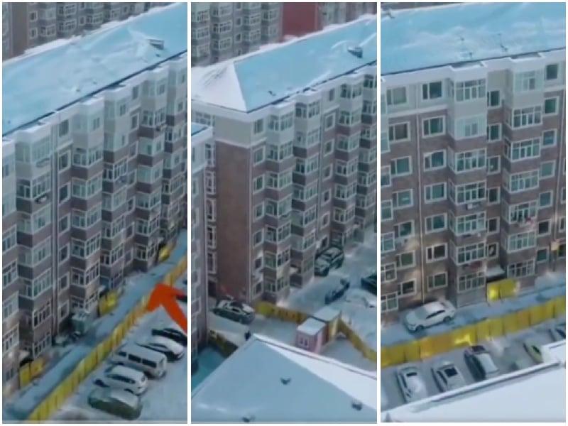 哈爾濱呼蘭小區封樓門、加圍欄。(影片截圖,大紀元合成)