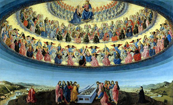 文藝復興早期意大利畫家弗朗切斯科.波蒂奇尼(Francesco Botticini)聖母升天,展現基督教的天堂觀。(公有領域)