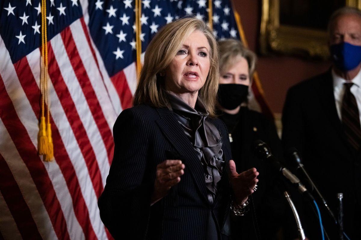 美國國會參議員瑪莎‧布萊克本(Marsha Blackburn)提出多項法案,對抗中共和伊朗威脅。(GRAEME JENNINGS/POOL/AFP via Getty Images)