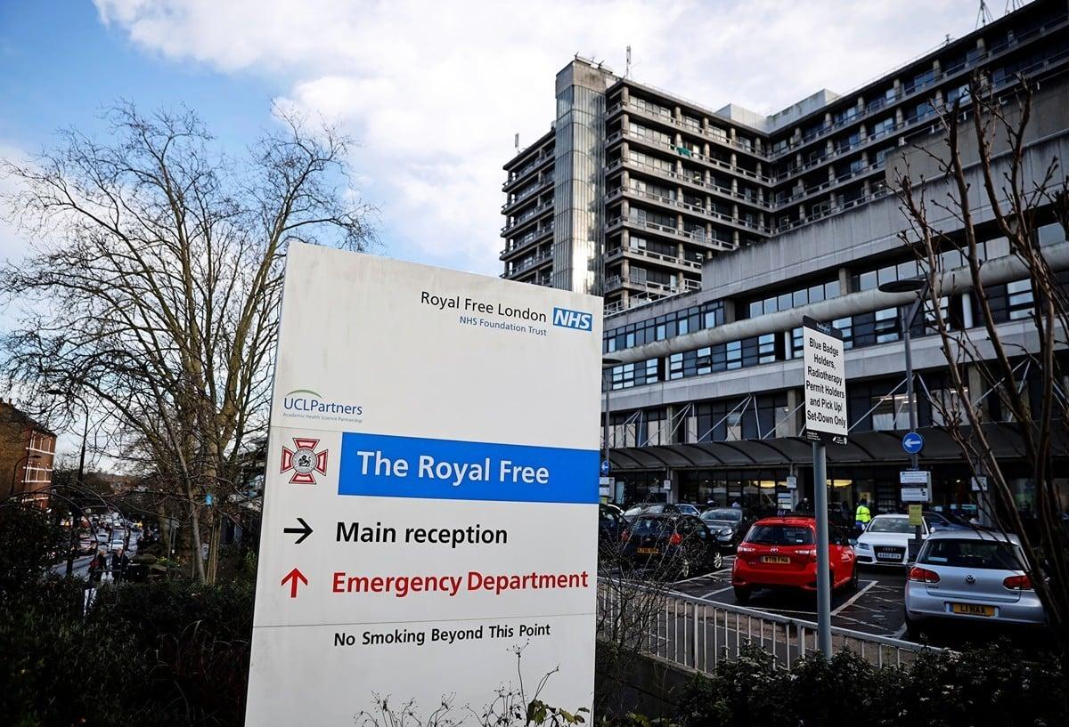 2020年2月10日,倫敦王家免費醫院的專業國家健康中心。部份已被確認患有中共病毒的英國公民在此接受治療。(Tolga Akmen/AFP)
