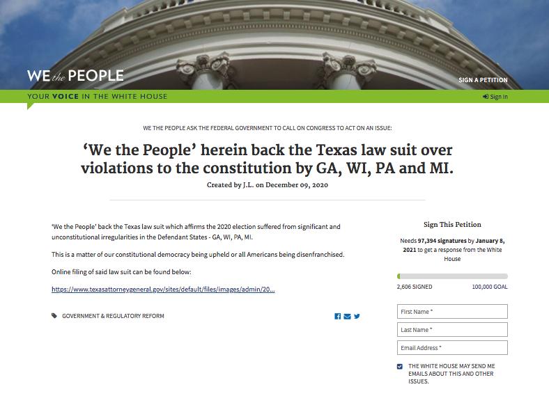 網民白宮徵簽請願 支持德州訴四州違憲案