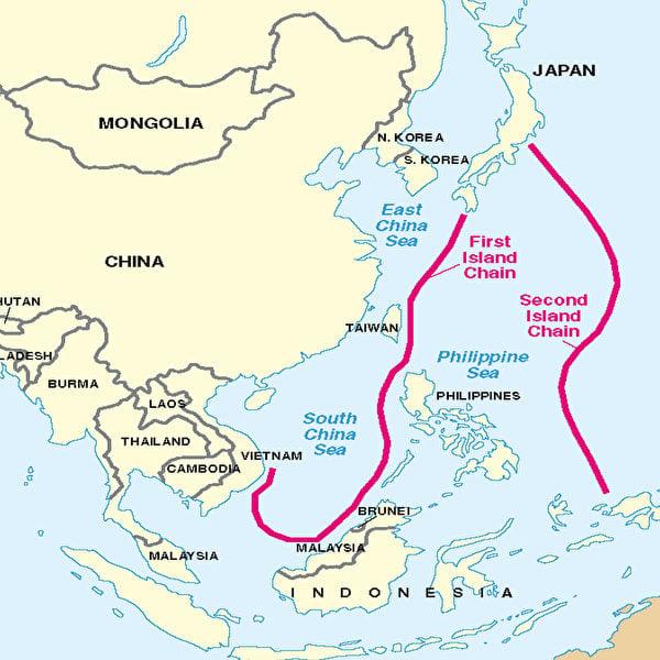 第一島鏈和第二島鏈示意圖。(美國國防部報告截圖)
