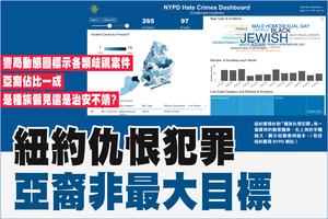 紐約仇恨犯罪頻傳 警局:亞裔非最大目標