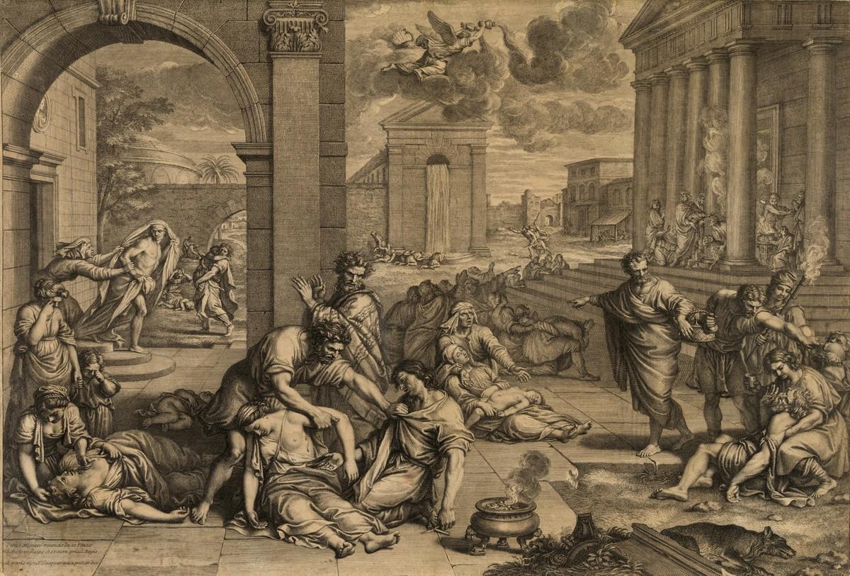 在1720、1820、1920和2020年,世界上都有瘟疫發生。此為人類面臨死亡與天使在天空中飛行的示意圖。(Shutterstock)