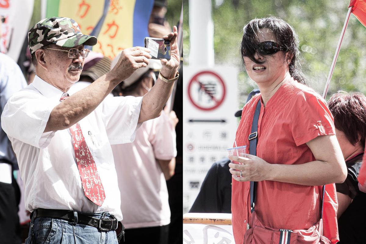 台北地檢署29日依違反《政治獻金法》起訴「中國民進黨」主席周慶峻(左)、愛國同心會成員張秀葉(右)。(大紀元合成)
