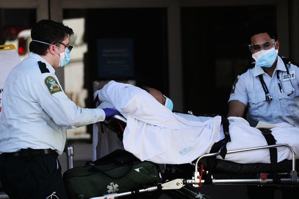 多名美國議員2020年4月20日表示,他們分別推出兩部新法案,盼透過剝奪中共政府主權豁免權,為美國民眾向北京索賠鋪路。圖為紐約市Maimonides Medical Center 。(Spencer Platt/Getty Images)