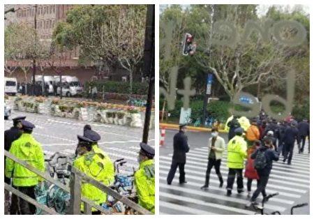 2021年3月19日上海一中院攔截公民參加陳建芳案旁聽。(受訪者提供/大紀元合成)