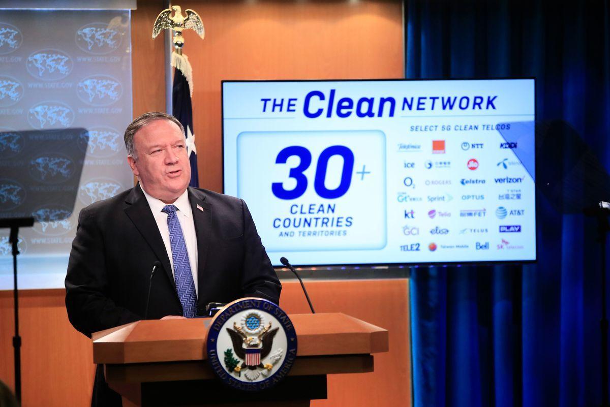 美國國務卿蓬佩奧(Mike Pompeo)(2020年8月5日)在國務院新聞發佈會上宣佈,將在五個領域封殺中共。(PABLO MARTINEZ MONSIVAIS/POOL/AFP via Getty Images)