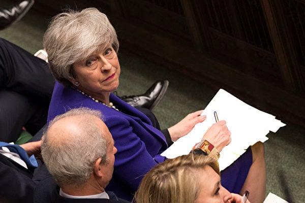 英國首相文翠珊預計在3月21日歐盟高峰會之前,將脫歐協議提交國會進行第3次表決。(AFP PHOTO/MARK DUFFY/UK Parliamen)