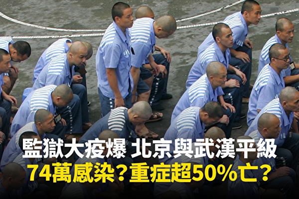 2020年3月大陸監獄疫情大爆發,僅在武漢一地就有逾800人確診。但分析指,這只是冰山一角。(大紀元合成)