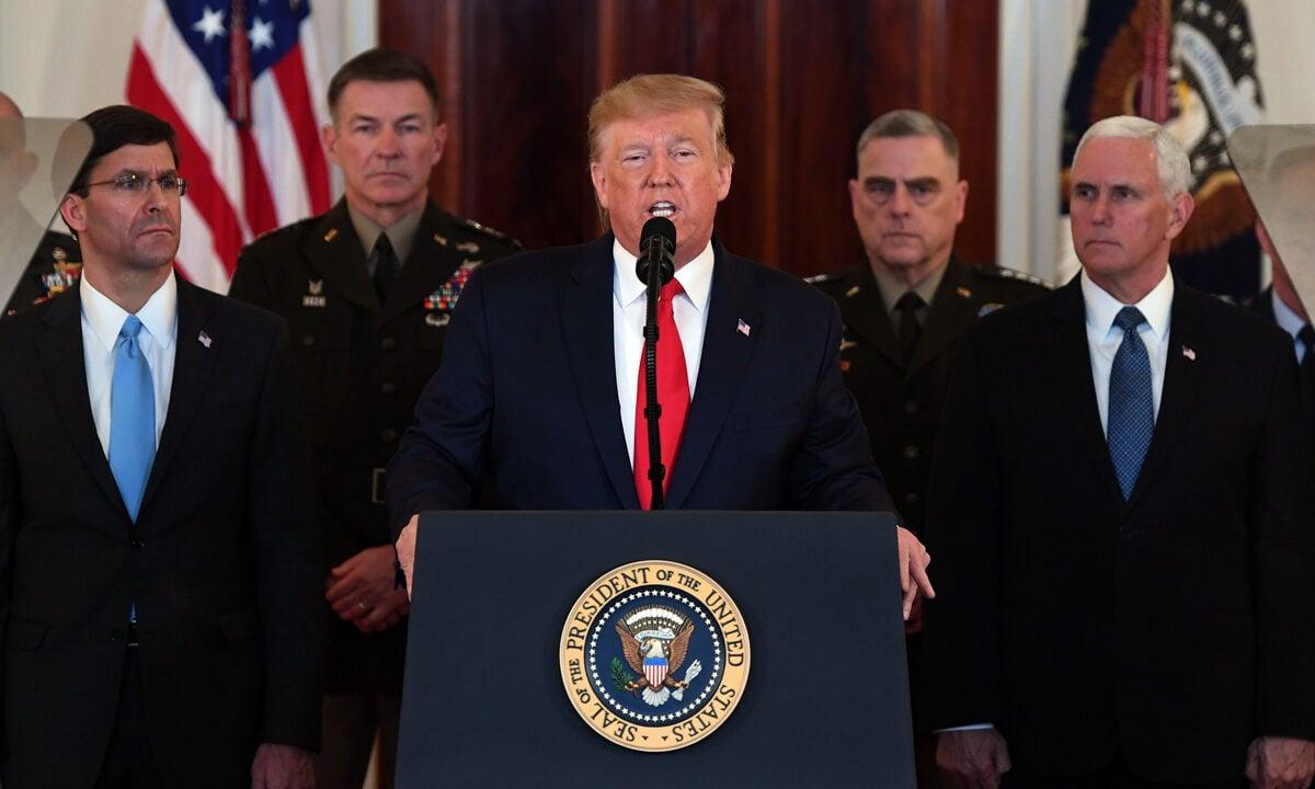 2020年1月8日,美國總統特朗普在華盛頓白宮大廳談與伊朗的關係問題。(Saul Loeb/AFP via Getty Images)
