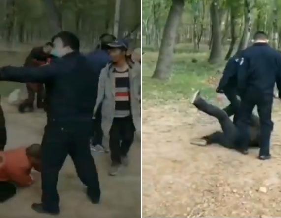 河南汝州市夏店鎮河口村,中共警察毆打村民。(影片截圖合成)