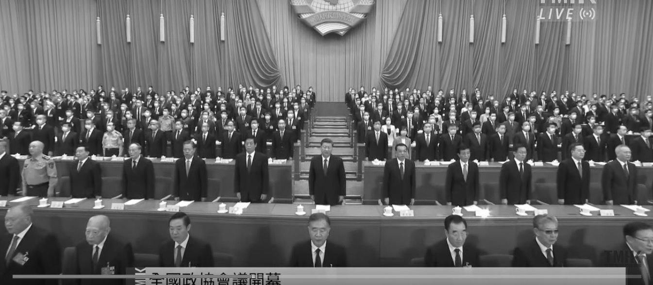圖為2020年5月21日中共全國政協召開會議。(影片截圖)
