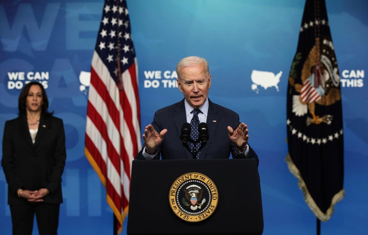 美國總統拜登講話資料照。(Alex Wong/Getty Images)