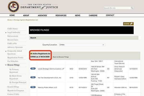 中共政協副主席、前香港特首董建華創立的「中美交流基金會」(紅框)在司法部FARA記錄為「中國代理人」。(FARA網站截圖)