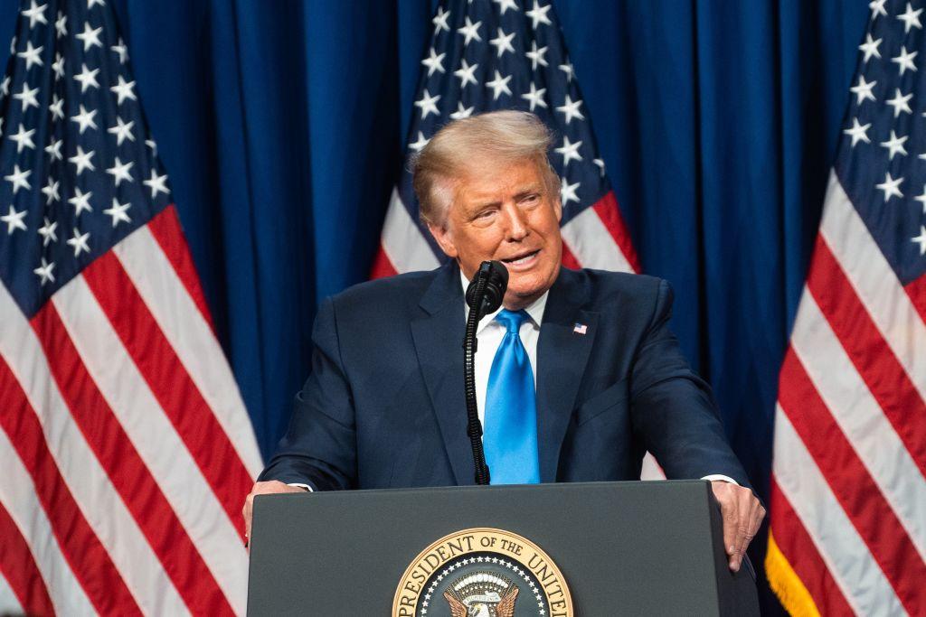 2020年8月24日,現任總統特朗普在美國共和黨全國代表大會被提名。(Jessica Koscielniak-Pool/Getty Images)