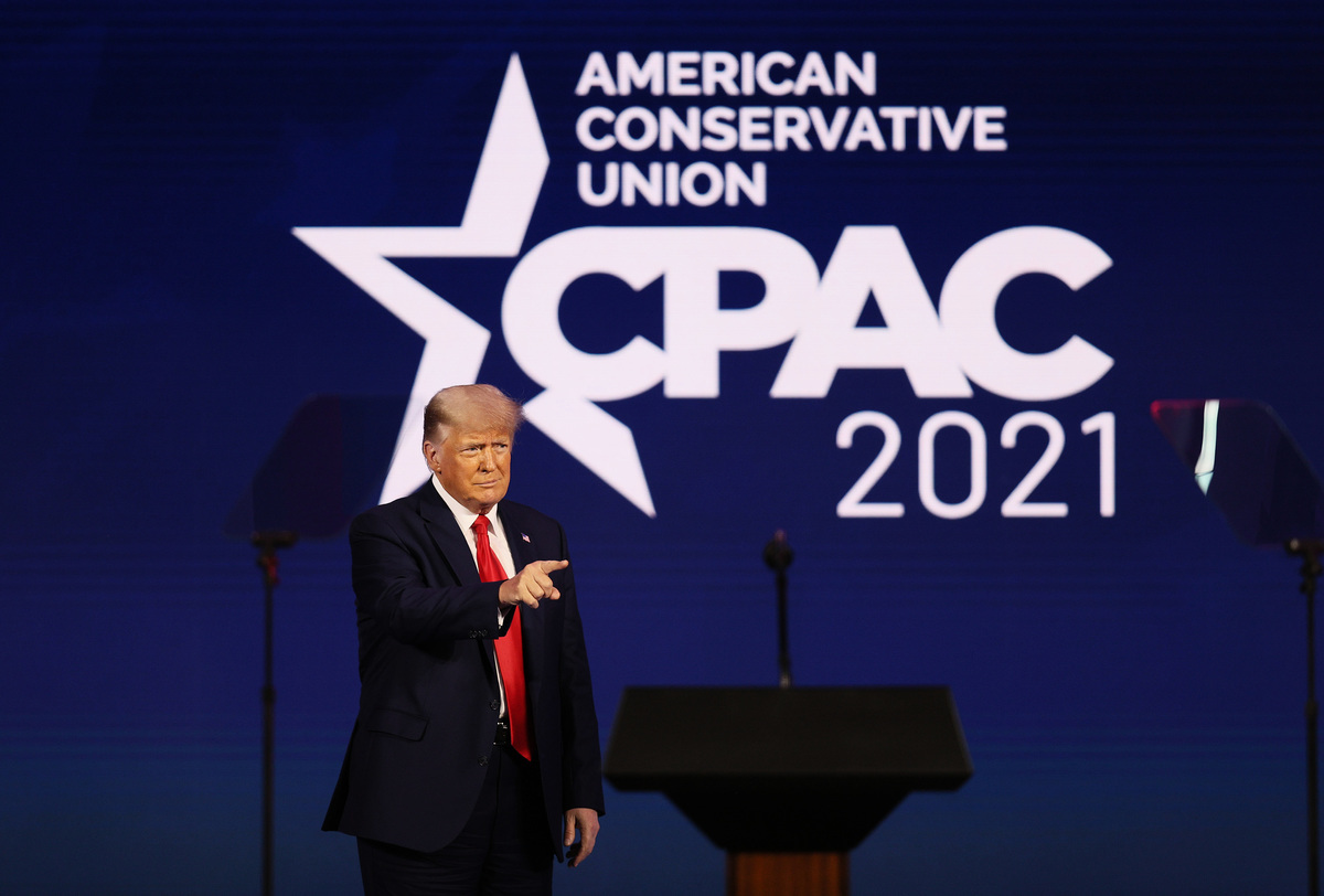 2021年2月28日,美國保守派聯盟大會(CPAC)最後一天,前總統特朗普發表演講。他再次批評了世界衛生組織是中共傀儡,並反對美國重返世衛。他還表示要對抗中共。(Photo by Joe Raedle/Getty Images)