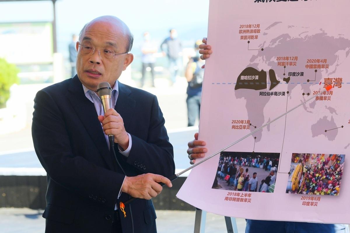 行政院長蘇貞昌表示,中國黑客擾亂全世界,台灣作為第一線最有經驗。(台行政院提供)