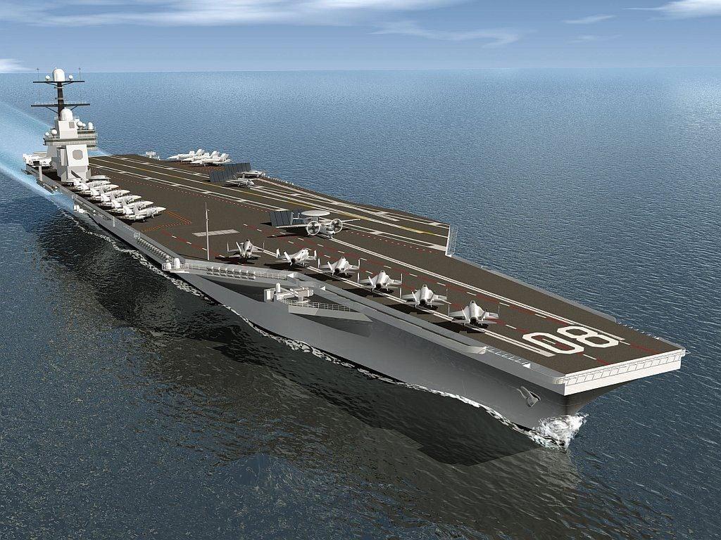 第三艘福特級航母企業號(USS Enterprise)將於2027年投入使用,預計海軍將在未來30年內訂購12艘福特級航母。(維基百科公有領域)