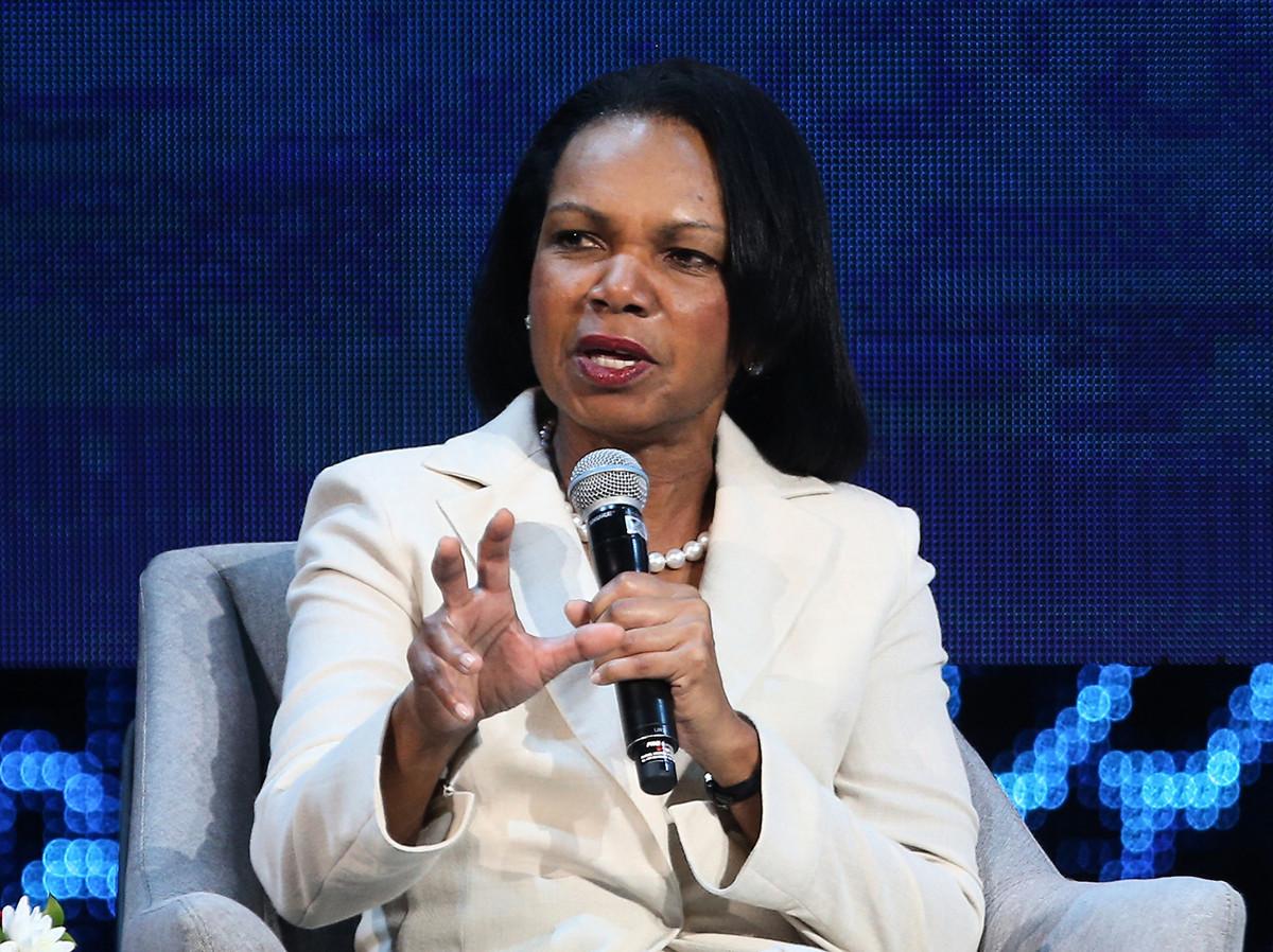 2019年11月11日前美國國務卿康多莉扎·賴斯(Condoleezza Rice)表示,中共強烈回應NBA經理有關支持香港抗議者的言論,這侵犯了美國主權。(AFP)