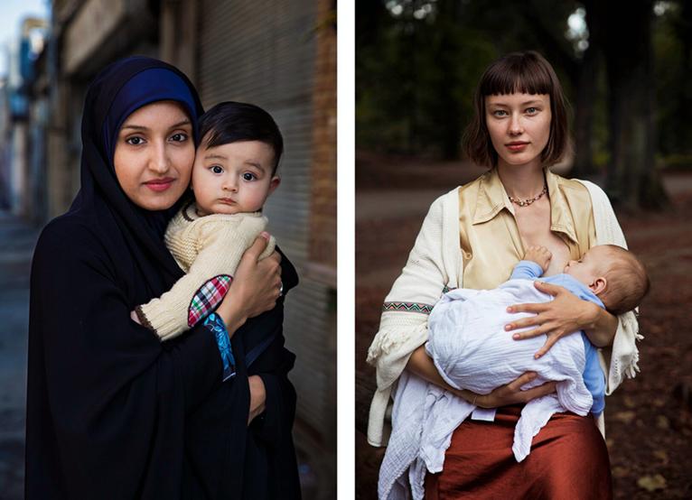 來自羅馬尼亞的女攝影師米哈艾拉·諾羅克(Mihaela Noroc)自2013年起開始環球旅行,她的最新作品著眼於一系列母親與孩子之間的親密畫面。上圖分別是伊朗德黑蘭和德國柏林的母子合照。(米哈艾拉提供)