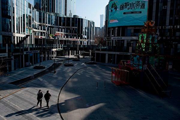 2020年1月29日,北京平常擁擠的商場街,如今空空盪盪。(NOEL CELIS/AFP via Getty Images)